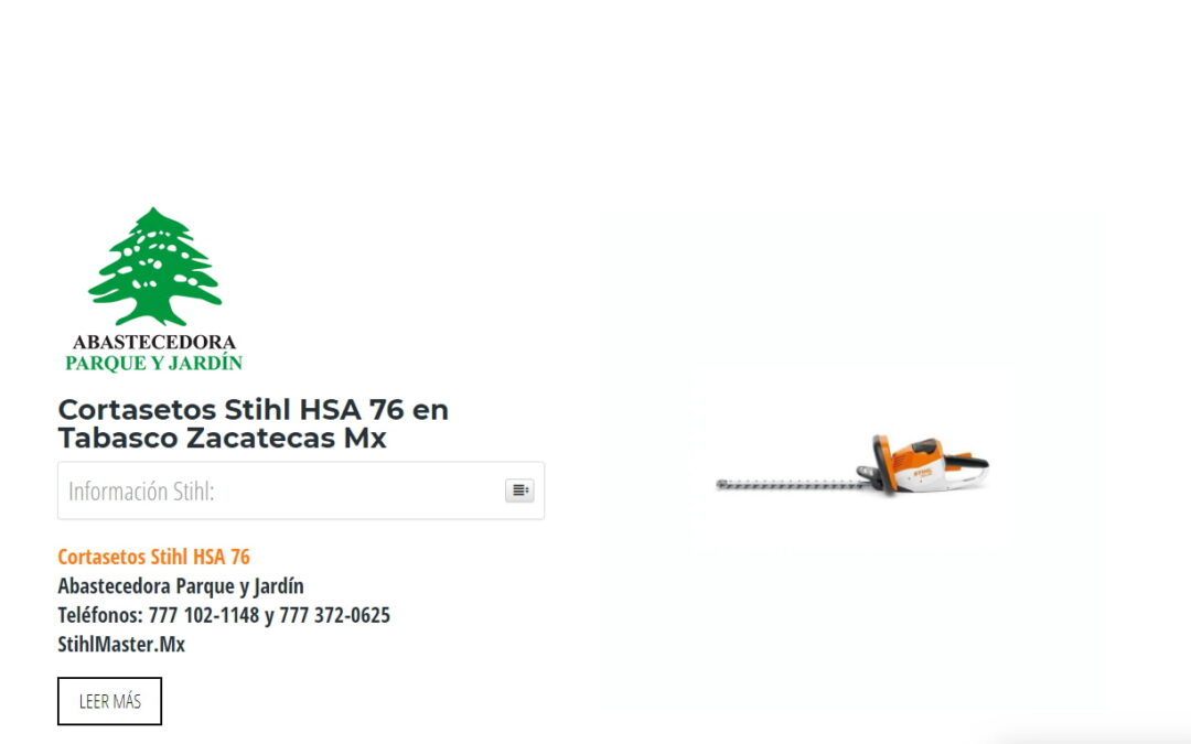 Cortasetos Stihl HSA 76 en Tabasco Zacatecas Mx