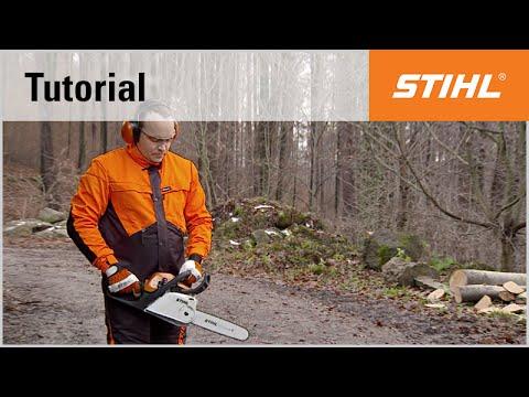 Knee start using the STIHL MS 211 C chainsaw with ErgoStart