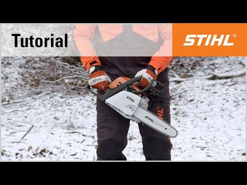 Ground start using the STIHL MS 181 chainsaw with choke