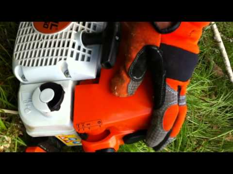 stihl ms250 chainsaw cold start