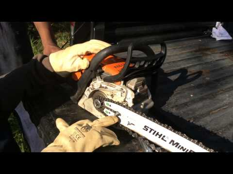 How to tension a chain on a Stihl Chainsaw