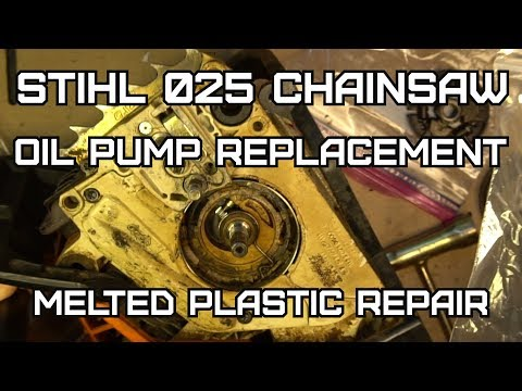 Stihl 025 Chainsaw Oiler repair and replacement
