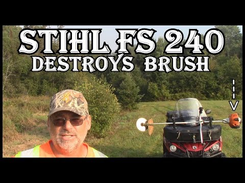 STIHL FS 240 BRUSH CUTTER  DESTROYS BRUSH WITH  120 TOOTH CARBIDE RENEGADE  BLADE