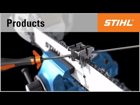 Sharpening a saw chain with the STIHL FG4 roller filing tool