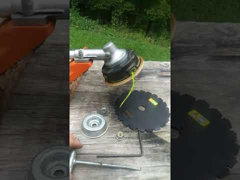 Brush blade installation on a stihl weedeater