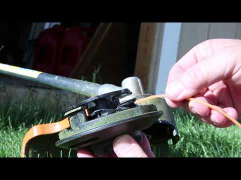 Starting and running  Stihl FS 56-RC grass trimmer and changing line on C – 25 – 2 Auto cut head