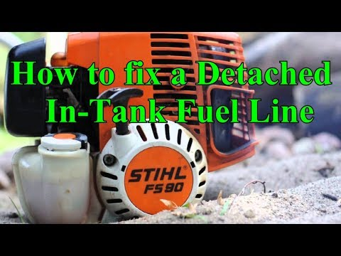 Stihl Trimmer.  How To Fix the detached in-tank fuel line problem.