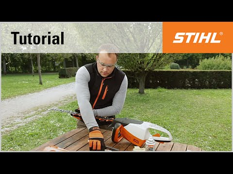 Sharpening the blades of a STIHL cordless hedge trimmer