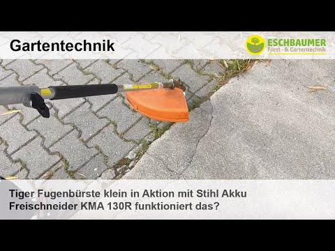 Tiger Fugenbürste klein in Aktion mit Stihl Akku Freischneider KMA 130R funktioniert das?